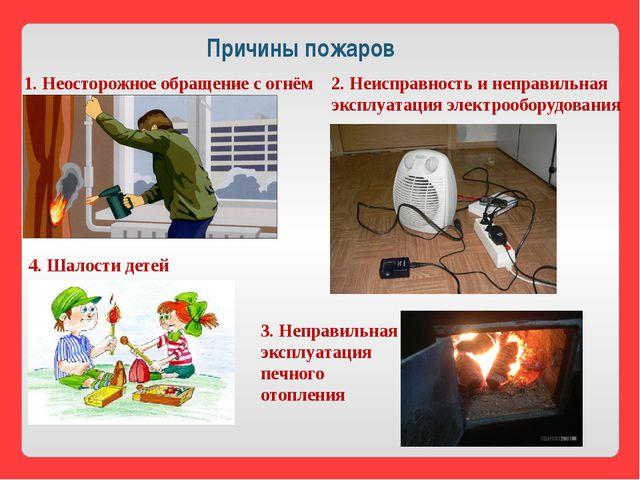 Причины пожаров 1. Неосторожное обращение с огнём 2. Неисправность и неправил...