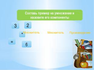 Составь пример на умножение и назовите его компоненты 3 * 6 = 2 Множитель Пр
