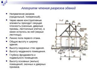 Алгоритм чтения разрезов зданий Направление разреза (продольный, поперечный).