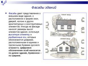 Фасады зданий Фасады дают представление о внешнем виде здания, о расположении
