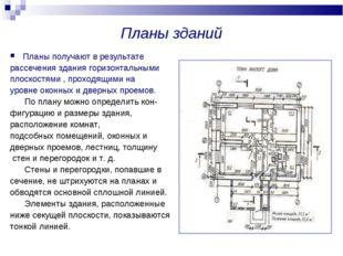 Планы зданий Планы получают в результате рассечения здания горизонтальными пл