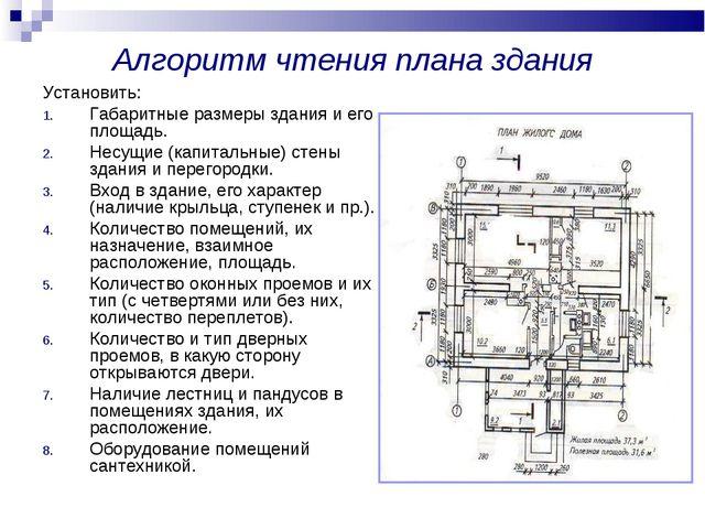 Алгоритм чтения плана здания Установить: Габаритные размеры здания и его площ...