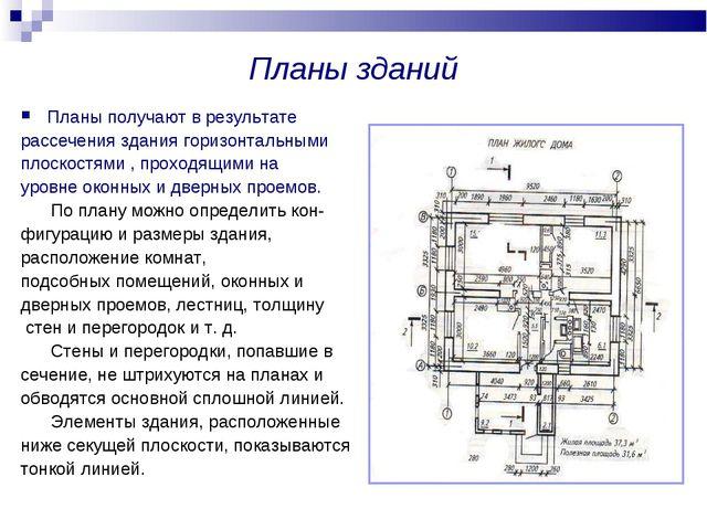 Планы зданий Планы получают в результате рассечения здания горизонтальными пл...