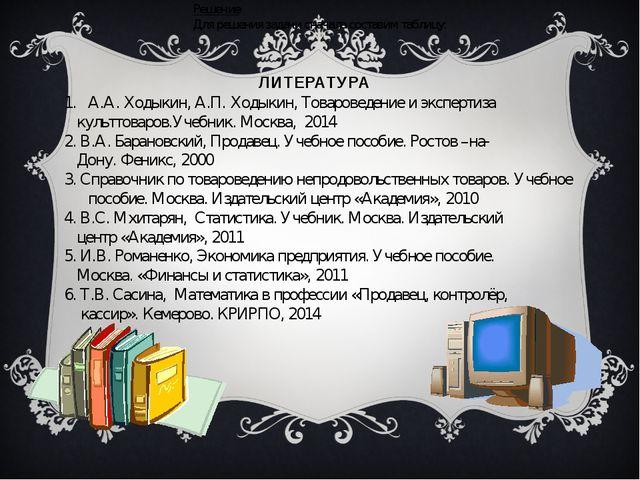 Решение Для решения задачи сначала составим таблицу: ЛИТЕРАТУРА А.А. Ходыкин,...