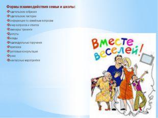 Формы взаимодействия семьи и школы: Родительские собрания Родительские лекто