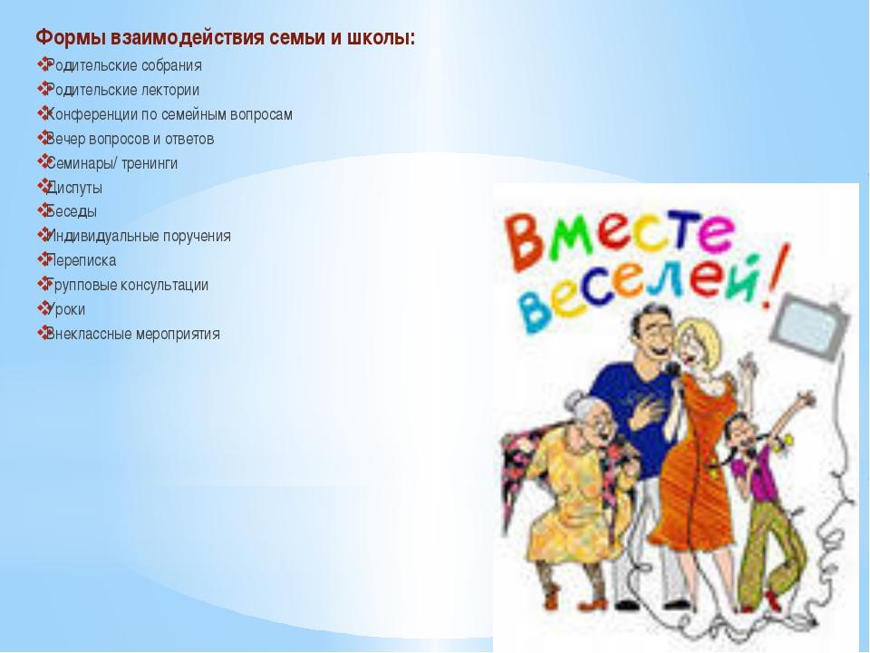 Формы взаимодействия семьи и школы: Родительские собрания Родительские лекто...