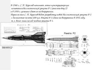 В 1948 г. С. П. Королев начинает летно-конструкторские испытания баллистическ