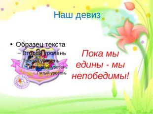 Наш девиз Пока мы едины - мы непобедимы!