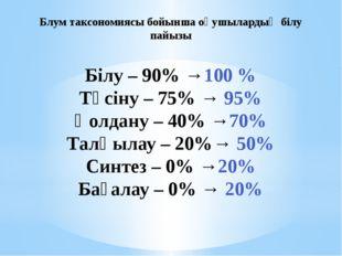 Білу – 90% →100 % Түсіну – 75% → 95% Қолдану – 40% →70% Талқылау – 20%→ 50% С