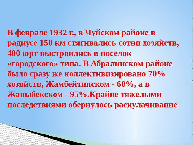 В феврале 1932 г., в Чуйском районе в радиусе 150 км стягивались сотни хозяйс...