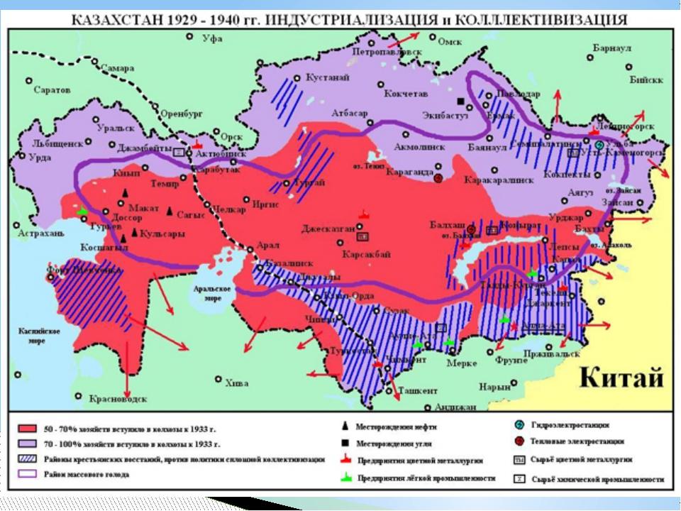 Восстания против коллективизации В1929-1931гг. в Казахстане прошла волна в...
