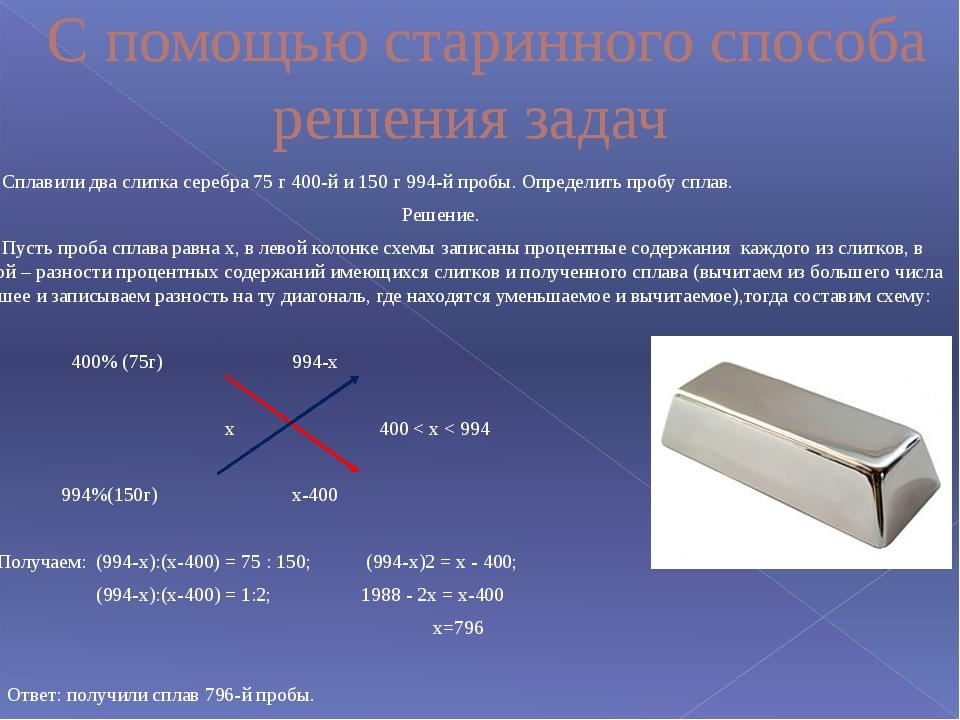С помощью старинного способа решения задач Сплавили два слитка серебра 75 г...