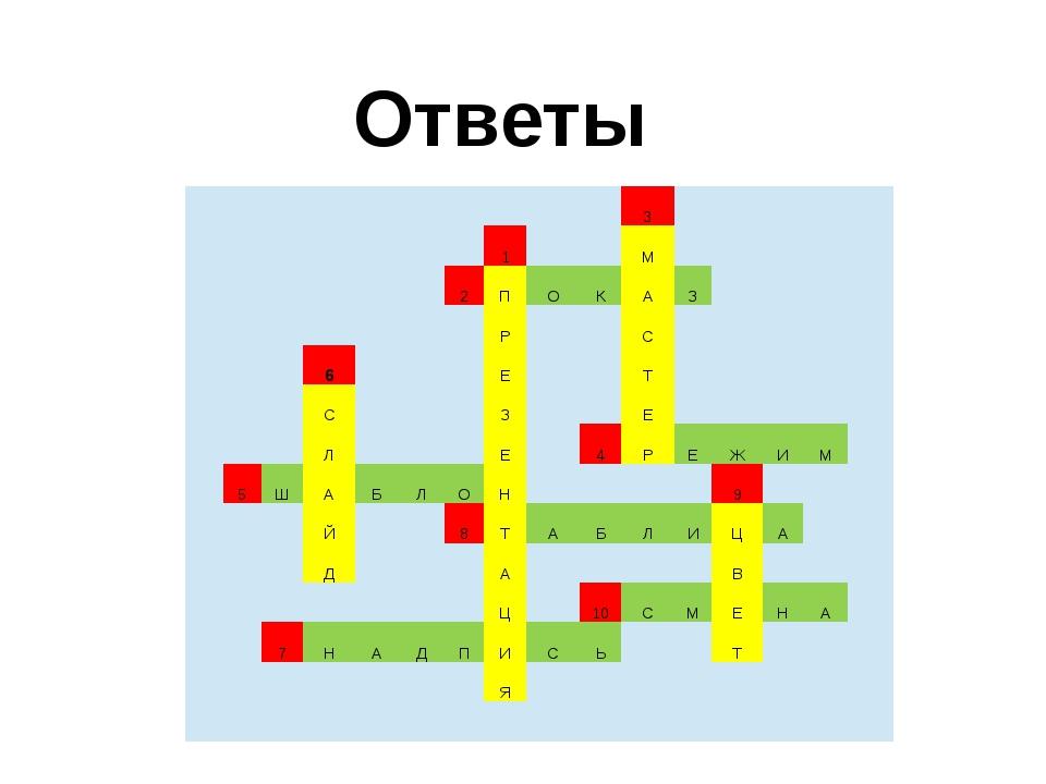 Ответы 3 1 М 2 П О К А З Р С 6 Е Т С З Е Л Е 4 Р Е Ж И М 5 Ш А Б Л О Н 9 Й 8...