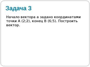 Задача 3 Начало вектора а задано координатами точки А (2;2), конец В (6;5). П