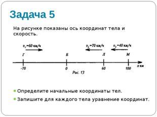 Задача 5 На рисунке показаны ось координат тела и скорость. Определите началь
