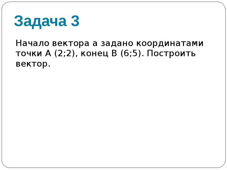 Задача 3 Начало вектора а задано координатами точки А (2;2), конец В (6;5). П...