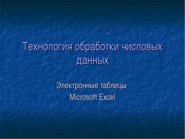 Технология обработки числовых данных Электронные таблицы Microsoft Excel
