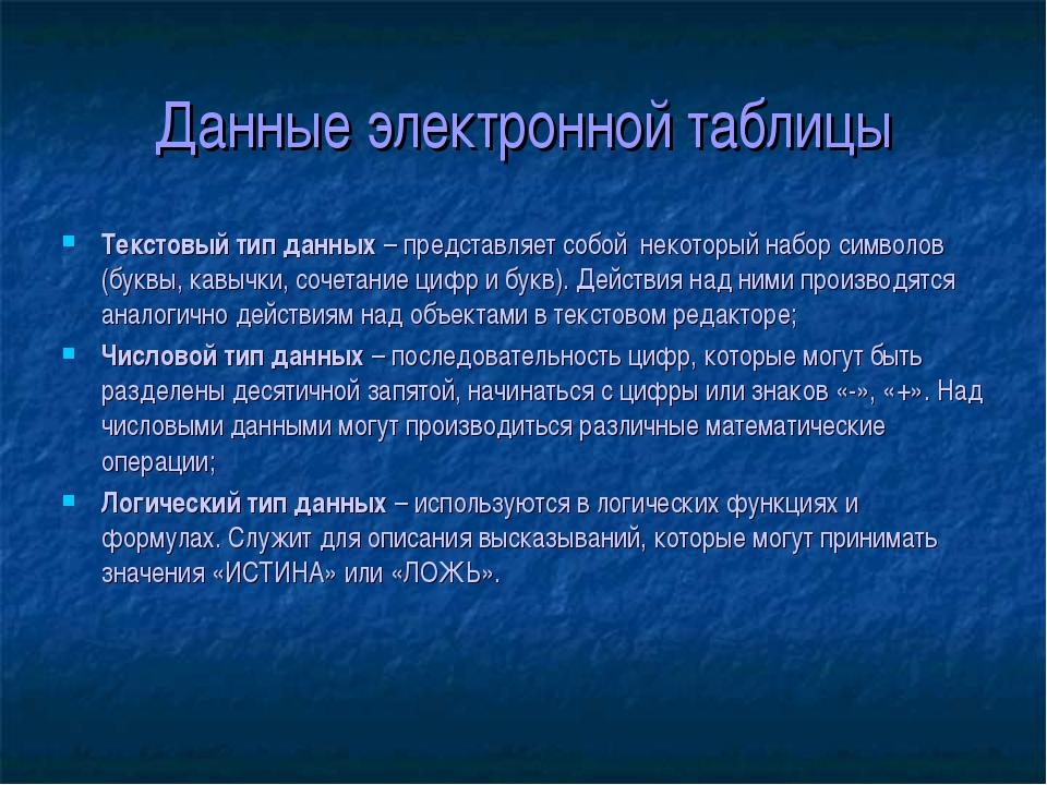 Данные электронной таблицы Текстовый тип данных – представляет собой некоторы...