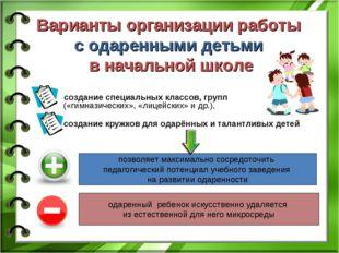 Варианты организации работы с одаренными детьми в начальной школе создание сп
