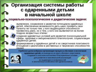 Организация системы работы с одаренными детьми в начальной школе выявление, с