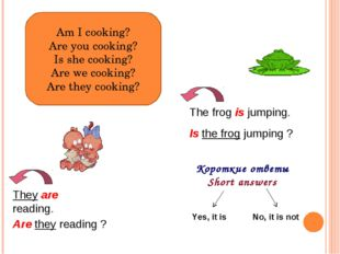 Am I cooking? Are you cooking? Is she cooking? Are we cooking? Are they cooki