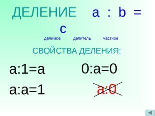 ДЕЛЕНИЕ a : b = c делимое делитель частное СВОЙСТВА ДЕЛЕНИЯ: a:1=a a:a=1 0:a=