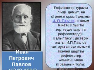 Рефлекстер туралы ілімді дамытқан көрнекті орыс ғалымы И. П. Павлов . Ғалым