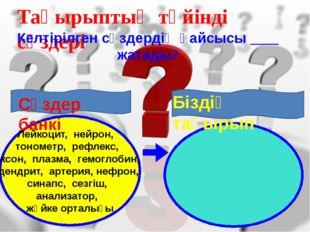 Тақырыптың түйінді сөздері Келтірілген сөздердің қайсысы ____ жатады? Лейкоц