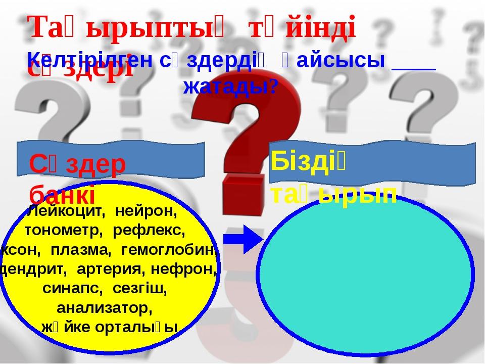 Тақырыптың түйінді сөздері Келтірілген сөздердің қайсысы ____ жатады? Лейкоц...