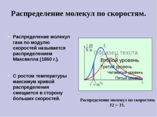 Распределение молекул газа по модулю скоростей называется распределением Макс
