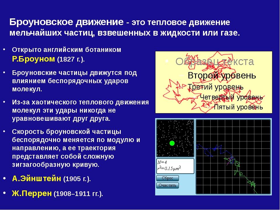 Броуновское движение - это тепловое движение мельчайших частиц, взвешенных в...