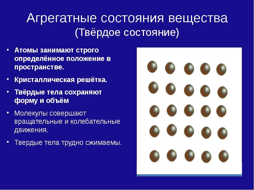 Агрегатные состояния вещества (Твёрдое состояние) Атомы занимают строго опред...