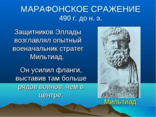 Мильтиад МАРАФОНСКОЕ СРАЖЕНИЕ 490 г. до н. э. Защитников Эллады возглавлял оп