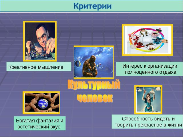 Креативное мышление Интерес к организации полноценного отдыха Богатая фантази...