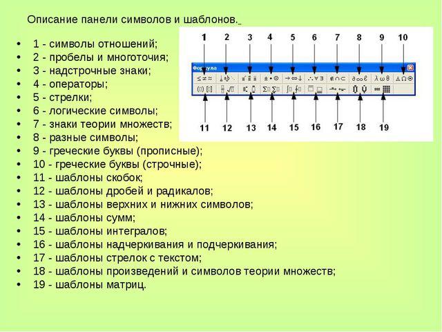 1 - символы отношений; 2 - пробелы и многоточия; 3 - надстрочные знаки; 4 - о...