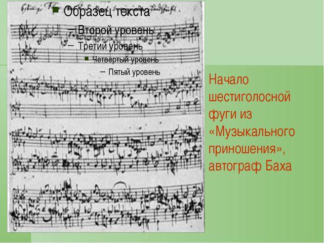Начало шестиголосной фуги из «Музыкального приношения», автограф Баха