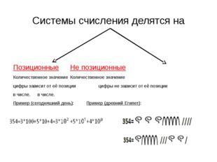 Системы счисления делятся на ПозиционныеНе позиционные Количественное знач
