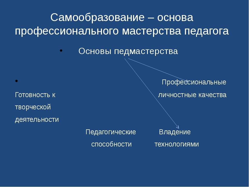 Самообразование – основа профессионального мастерства педагога Основы педмас...