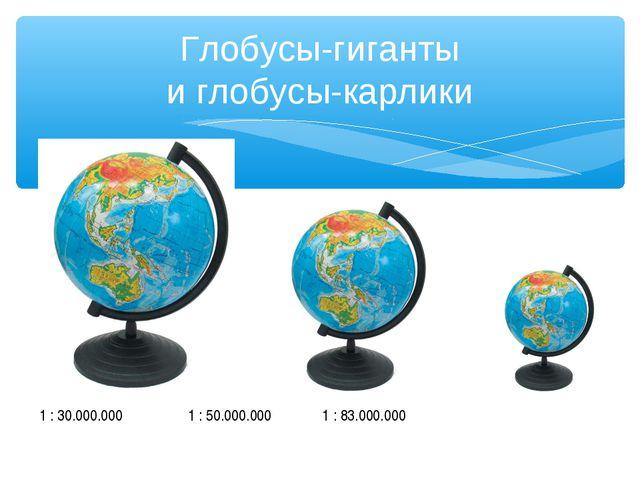 Глобусы-гиганты и глобусы-карлики 1 : 30.000.000 1 : 50.000.000 1 : 83.000.000