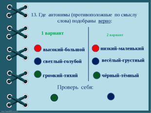 13. Где антонимы (противоположные по смыслу слова) подобраны верно: 2 вариант