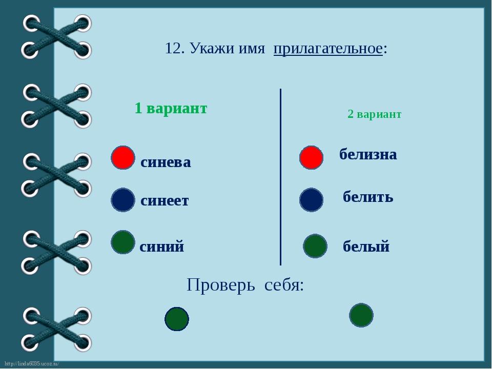 12. Укажи имя прилагательное: 2 вариант 1 вариант синеет синева синий белизна...