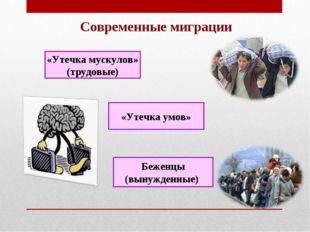 Современные миграции «Утечка мускулов» (трудовые) «Утечка умов» Беженцы (выну
