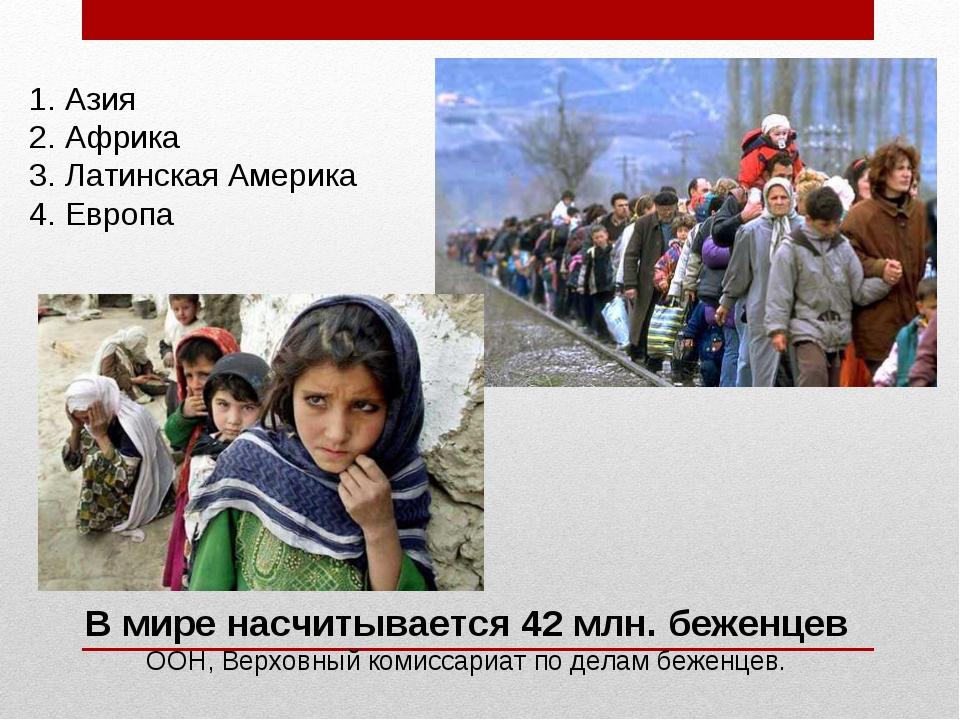 В мире насчитывается 42 млн. беженцев ООН, Верховный комиссариат по делам беж...