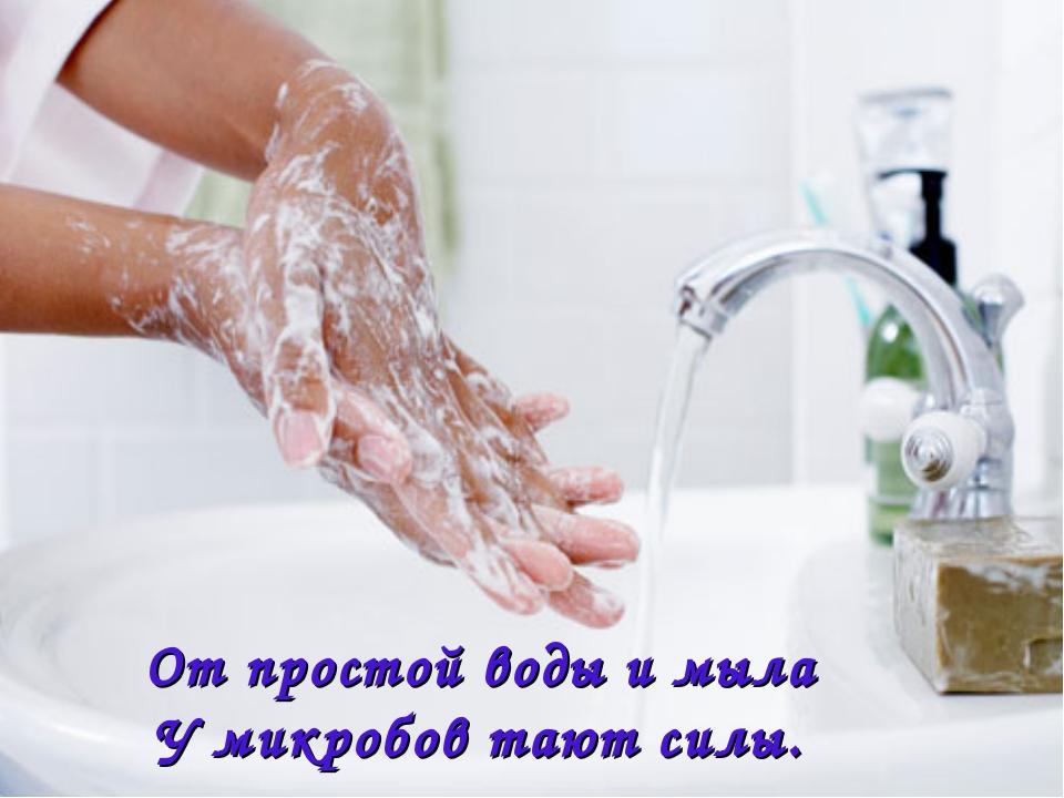МИКРОБ От простой воды и мыла У микробов тают силы.