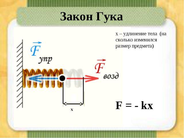 х – удлинение тела (на сколько изменился размер предмета) F = - kx Закон Гука