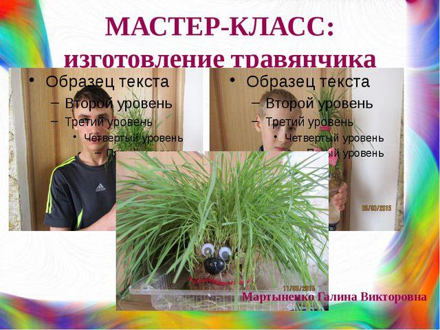 МАСТЕР-КЛАСС: изготовление травянчика Мартыненко Галина Викторовна