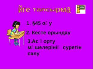 1. §45 оқу 2. Кесте орындау 3.Ас қорту мүшелерінің суретін салу
