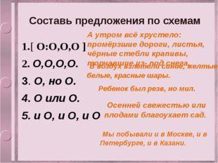 Составь предложения по схемам 1.[ О:О,О,О ] 2. О,О,О,О. 3. О, но О. 4. О или
