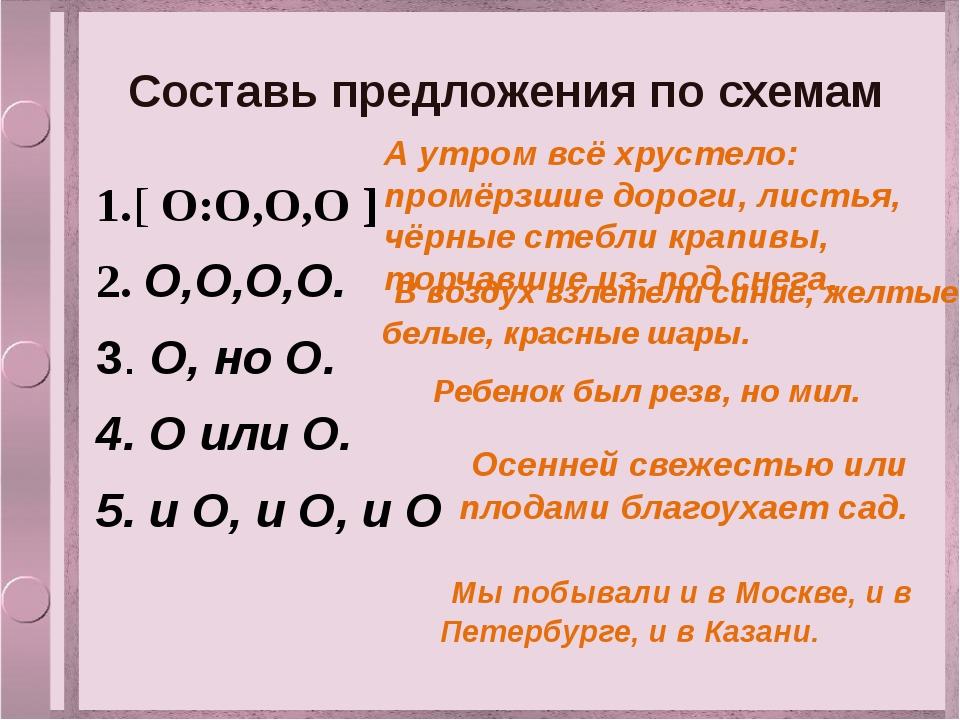 Составь предложения по схемам 1.[ О:О,О,О ] 2. О,О,О,О. 3. О, но О. 4. О или...