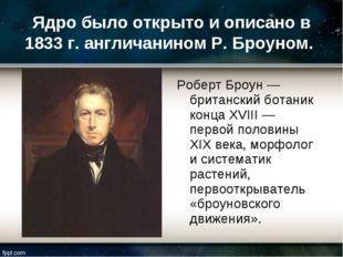 Ядро было открыто и описано в 1833 г. англичанином Р. Броуном. Роберт Броун —